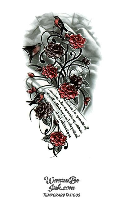 Red Roses and Poetry Best Temporary Tattoos