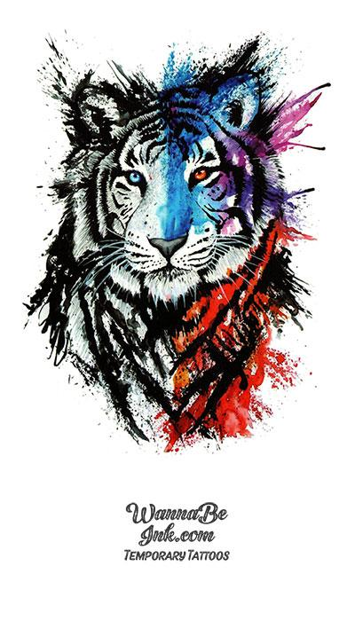 Red White and Blue Tiger Best Temporary Tattoos