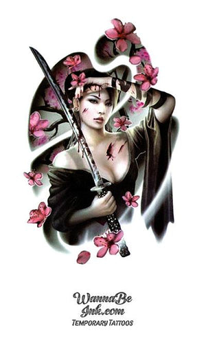 Samurai Woman In Black and Cherry Blossoms Best Temporary Tattoos