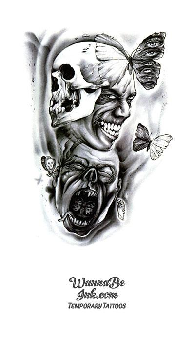 Screaming Skulls Laughing Face and Butterflies Best Temporary Tattoos