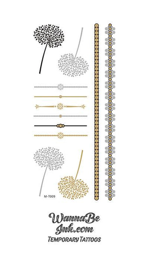Silver and Gold Dandelion and Straight Line Metallic Temporary Tattoos