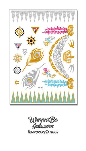 Silver and Gold Peacock Feathers with Pink Headed Scorpion Designs Metallic Temporary Tattoos