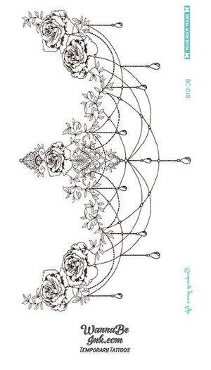 Sketched Rose Chandelier Temporary Tattoo Under Breast
