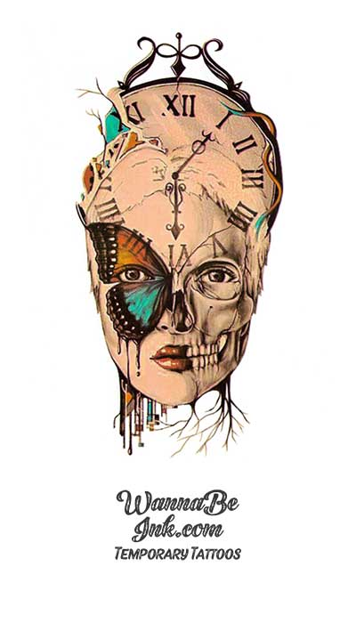 Skull and Butterfly Face on Clock Best Temporary Tattoos