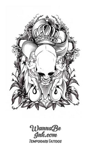 Skull Crown and Women Attendants Best Temporary Tattoos