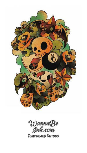 Skull Dice and Eight Ball Best Temporary Tattoos