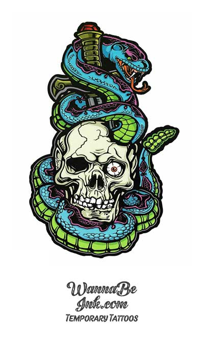 Skull Wrapped In Blue and Green Snake Best Temporary Tattoos