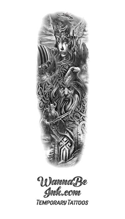 Sorceress Wizard Crow Vikings Filigree Temporary Sleeve Tattoos