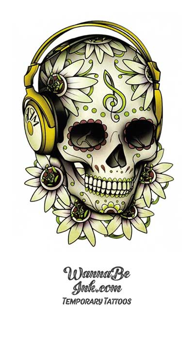 Sugar Skull Wearing Headphones Best Temporary Tattoos