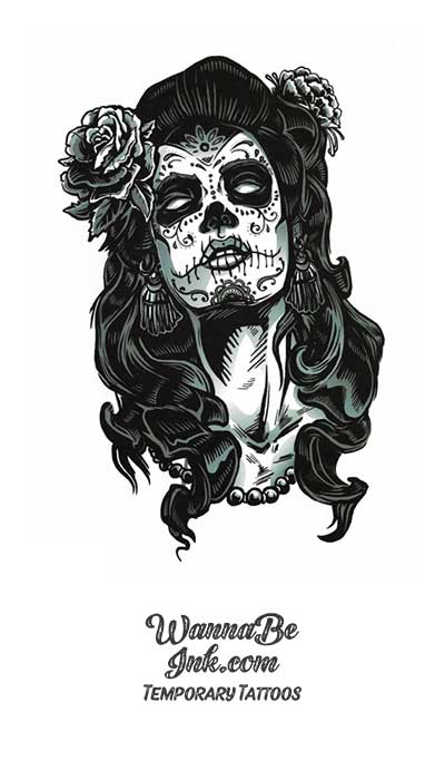 Sugar Skull Woman With Black Roses Best Temporary Tattoos
