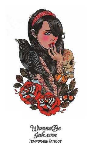 Surprised Woman Next To Raven and Skull with Roses Best Temporary Tattoos