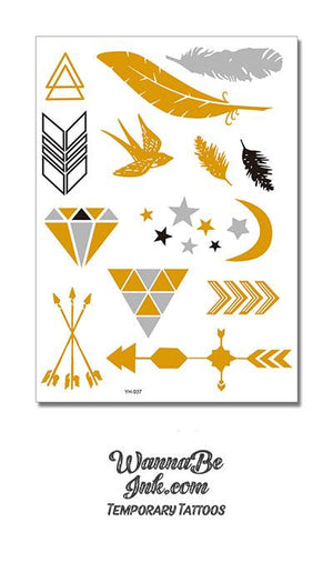 Swallow Moon Stars Arrows of Time Metallic Temporary Tattoos