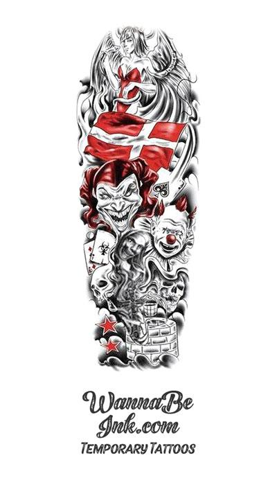 Switzerland Flag Demon Clowns Skulls Stars Devil's Angel Snake Temporary Sleeve Tattoos