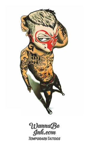 Tattoed Jaguar Man With Face Covered Best Temporary Tattoos