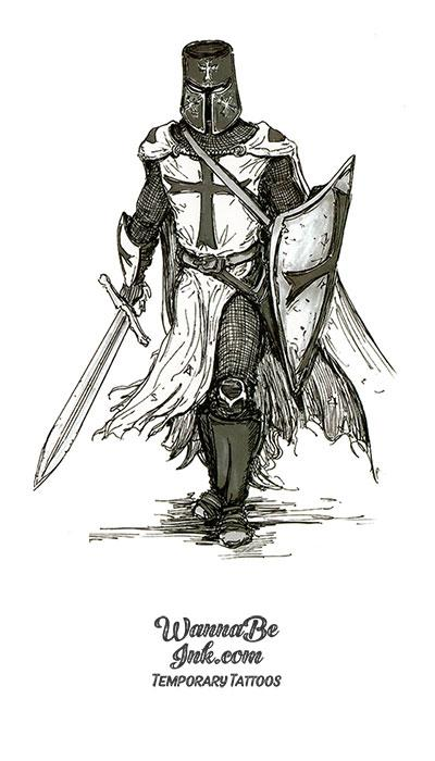 Templar Knight With Sword Drawn Best Temporary Tattoos