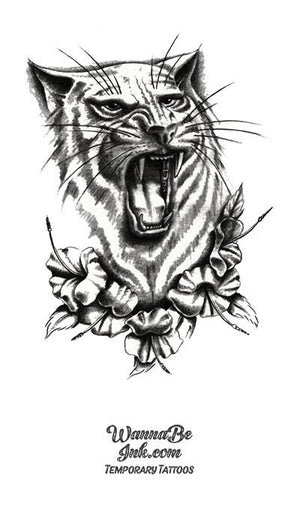 Tiger In Blossoms Best Temporary Tattoos