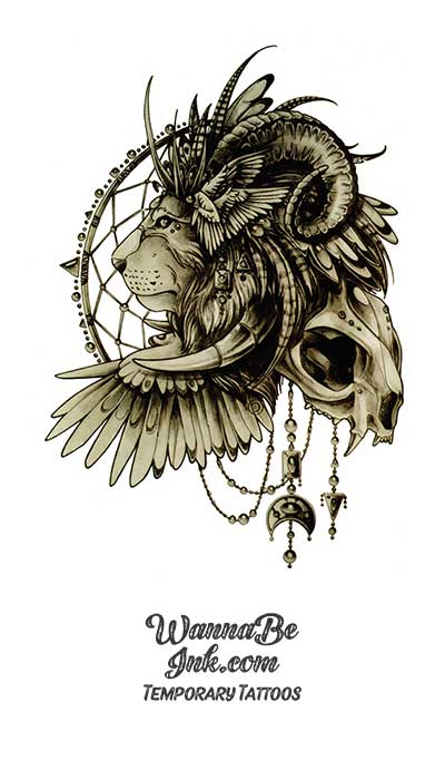 Tusked Lion On Dream Catcher Skull Best Temporary Tattoos