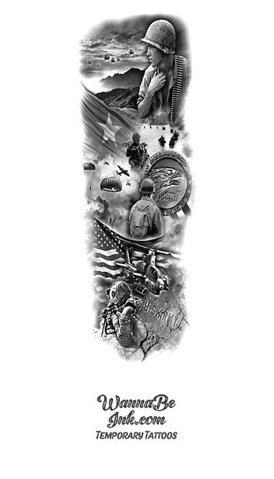 Veteran Soldiers Medal Helicopter Paratroopers Temporary Sleeve Tattoos