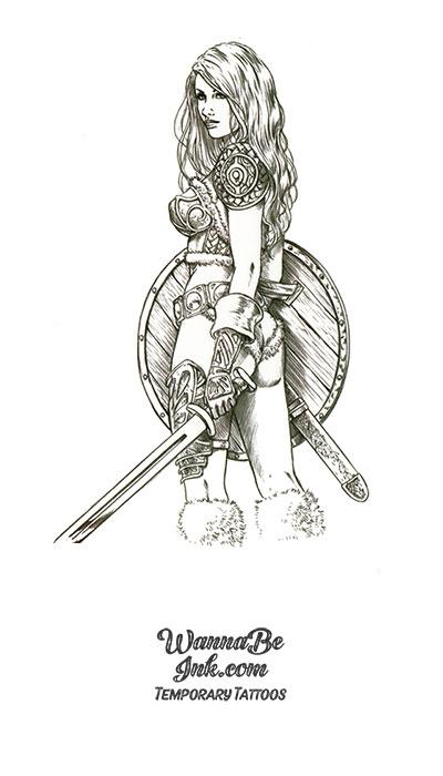 Viking Shield Maiden With Sword Best temporary tattoos
