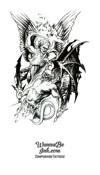 Warrior Angel Fighting Demon Best Temporary Tattoos