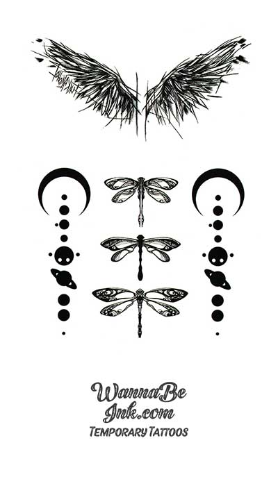 Wings DragonFlies Crescent Moons and Planet Strings Best Temporary Tattoos