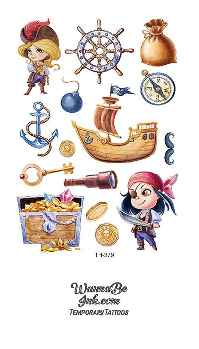 Women Pirates and Ship Best Temporary Tattoos