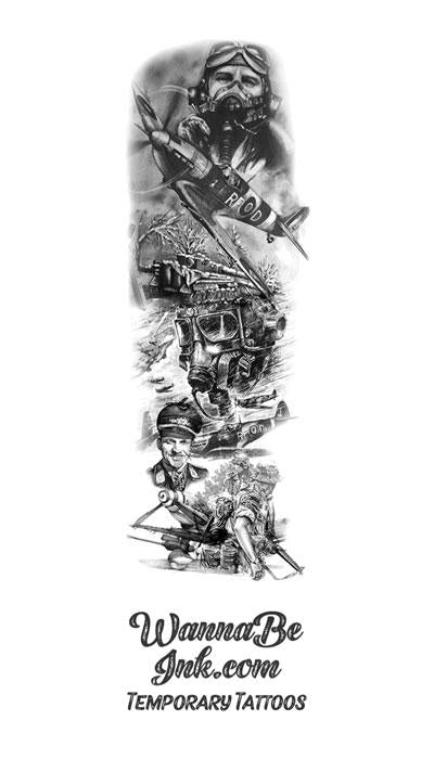 World War Two Military Fighter Pilots Tank Temporary Sleeve Tattoos