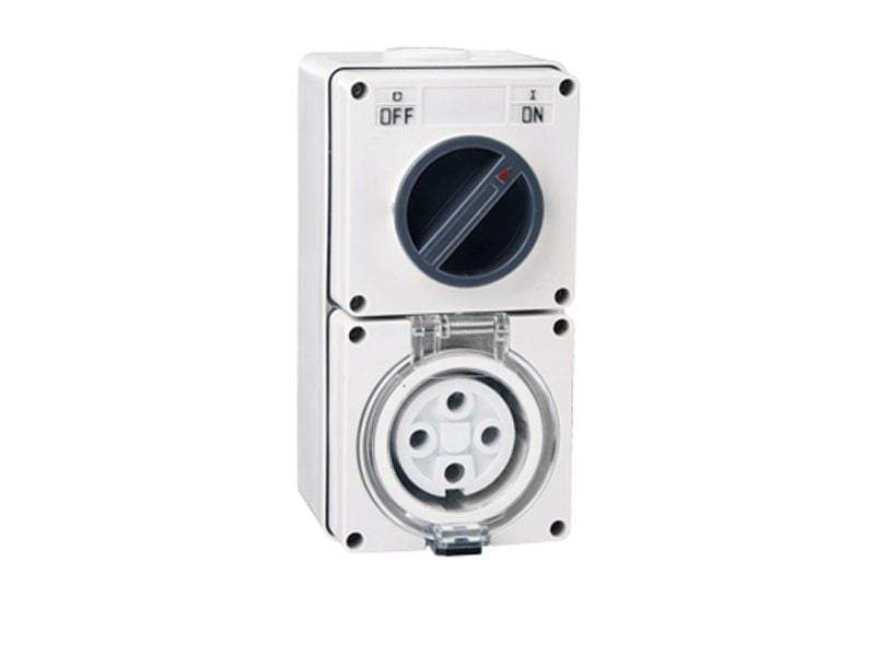 4 Pin 32AMP Combination Switched Socket - Star Sparky Direct
