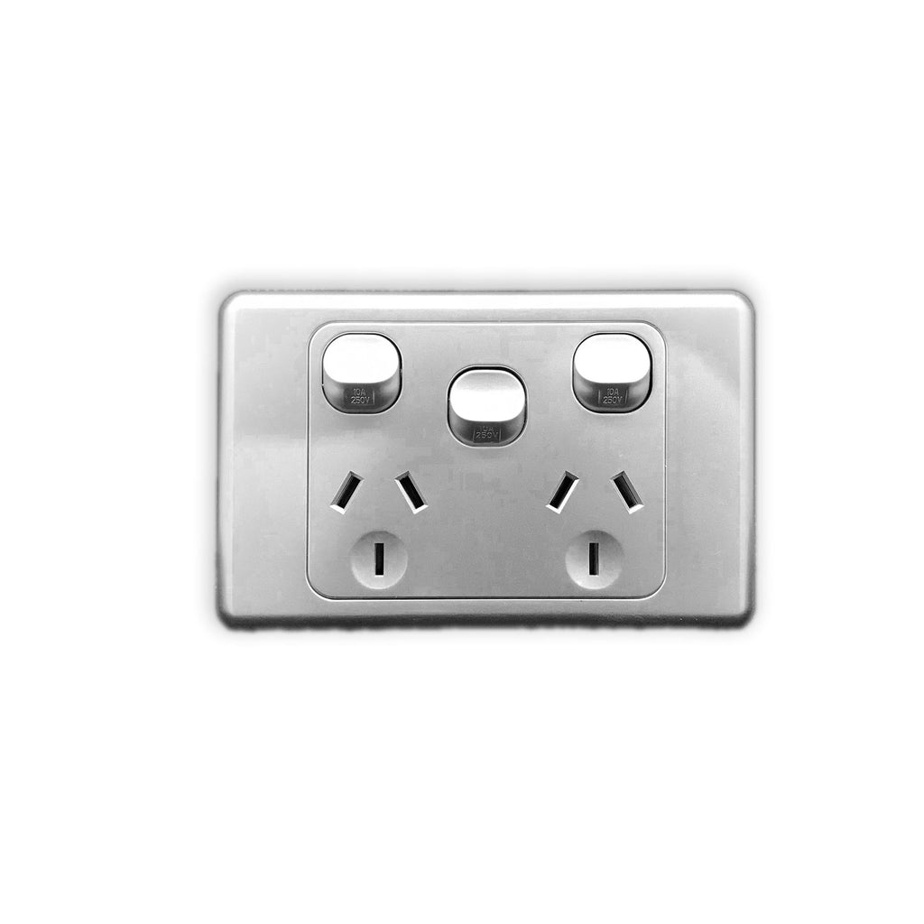 Double Power Point with Extra switch 10A colour Silver - AS316-S - Star Sparky Direct