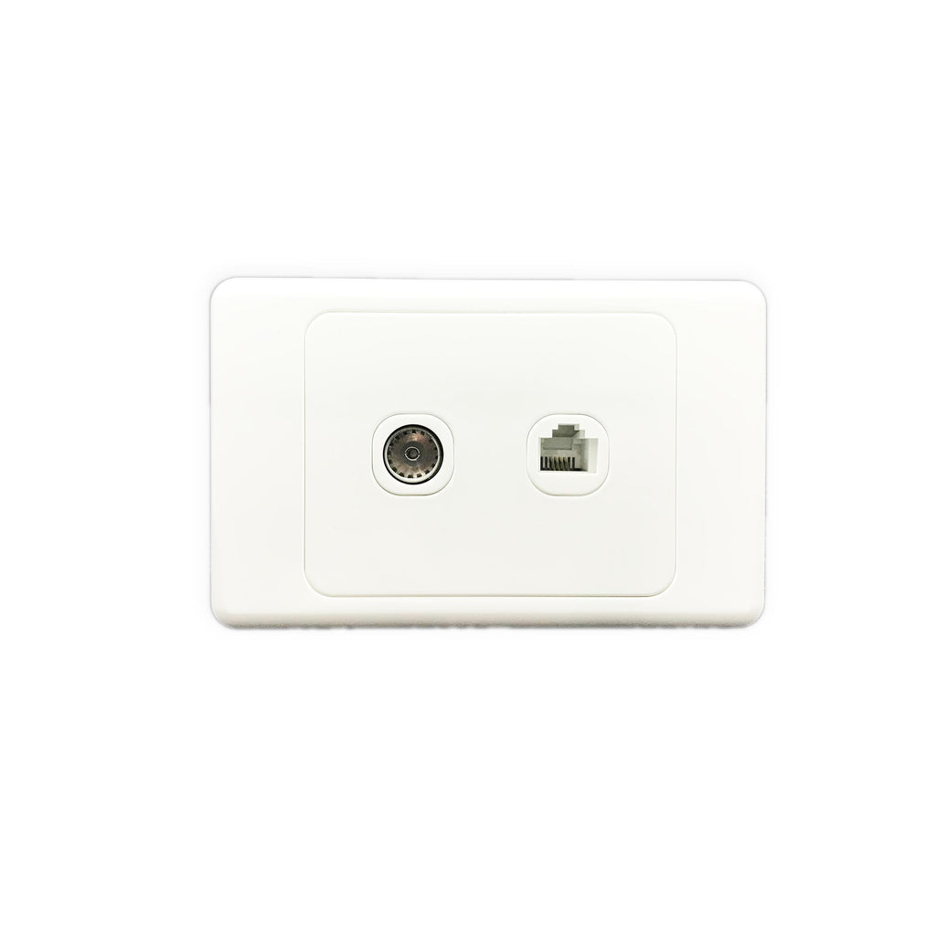 Combined TV Outlet and Telephone Wall Socket - AS322 - Star Sparky Direct