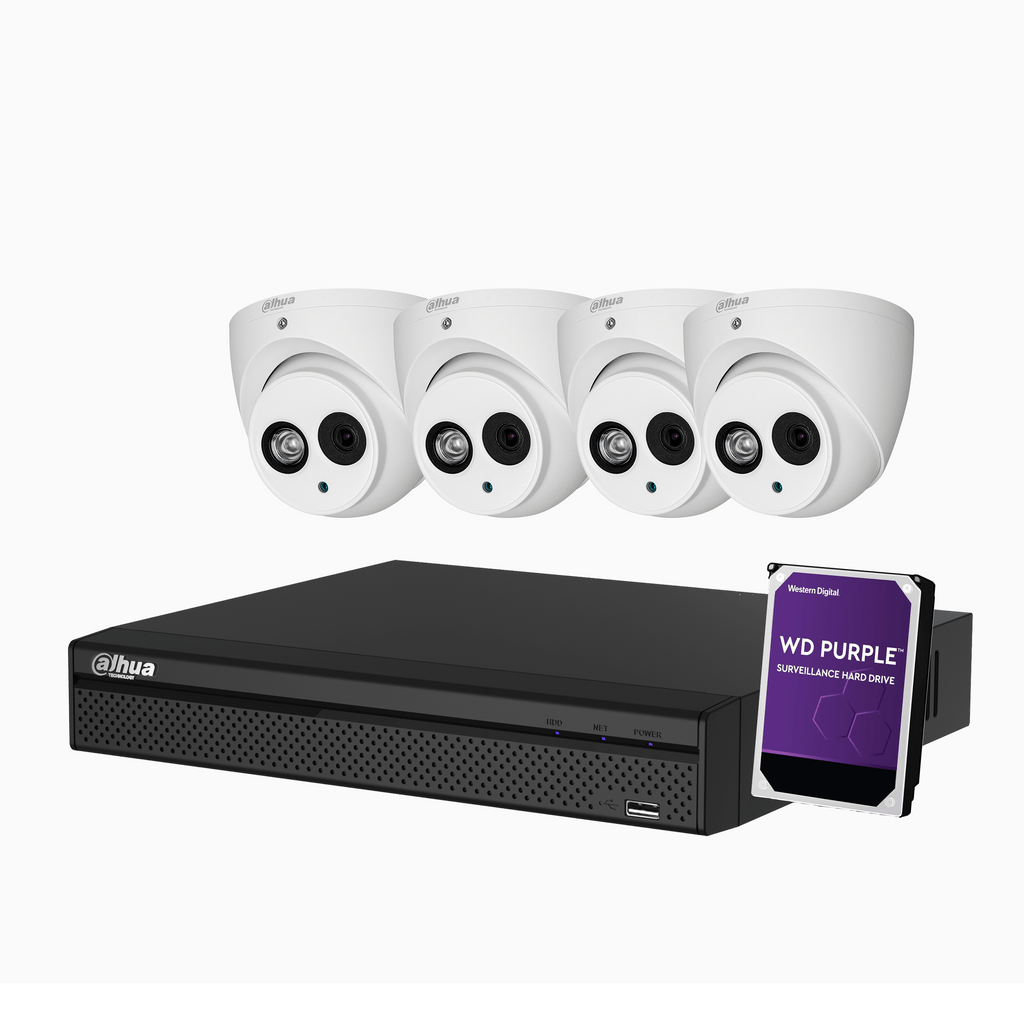 4 x 4MP Eyeball Kit with 4CH XVR + 1TB HDD - Star Sparky Direct