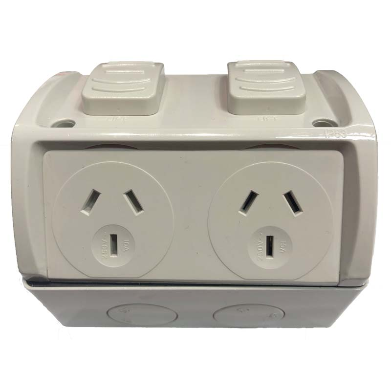 2 Phase Outdoor Weatherproof Double Powerpoint Outlet - Star Sparky Direct