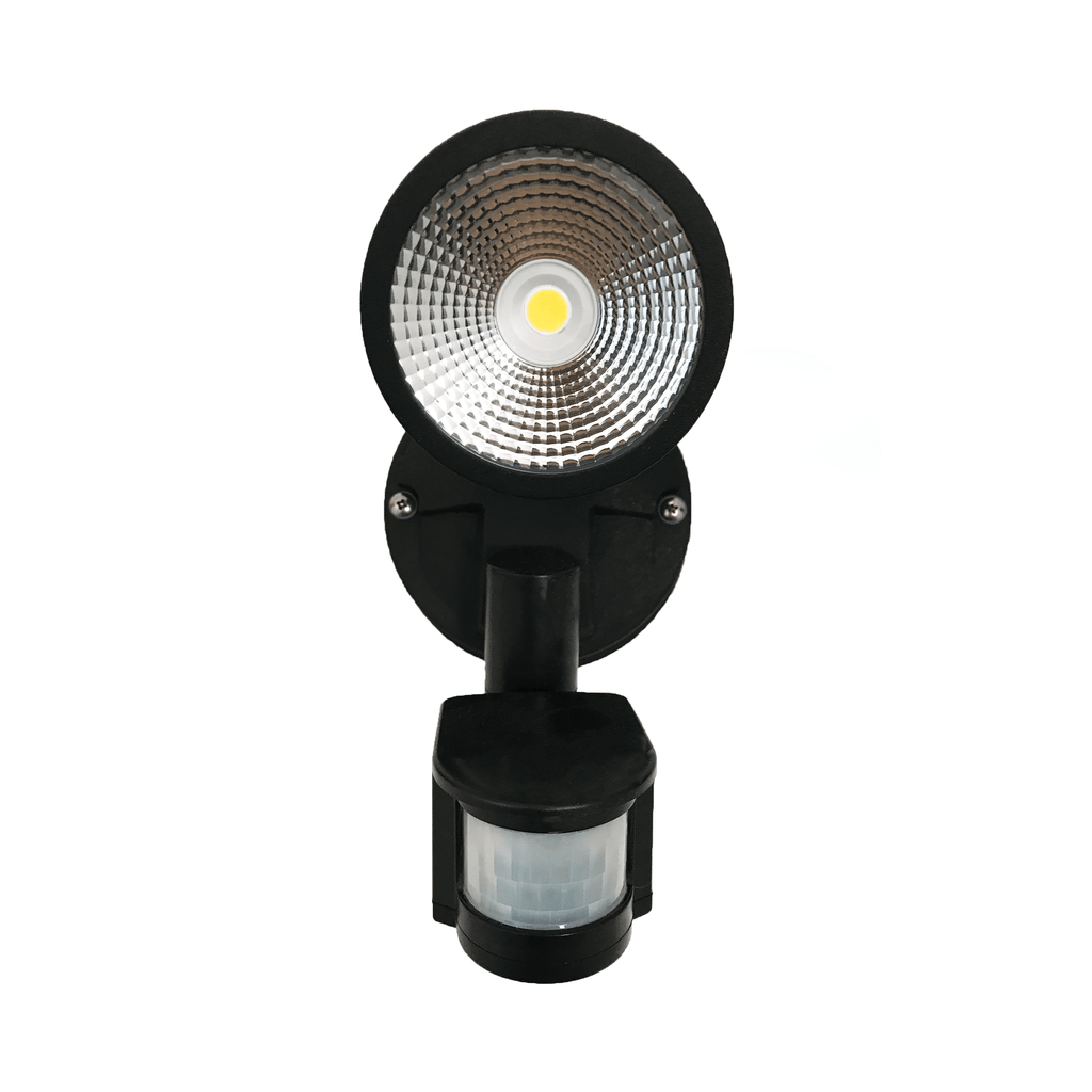 Starco 12W LED Single Head Spotlight Black with Sensor - Star Sparky Direct