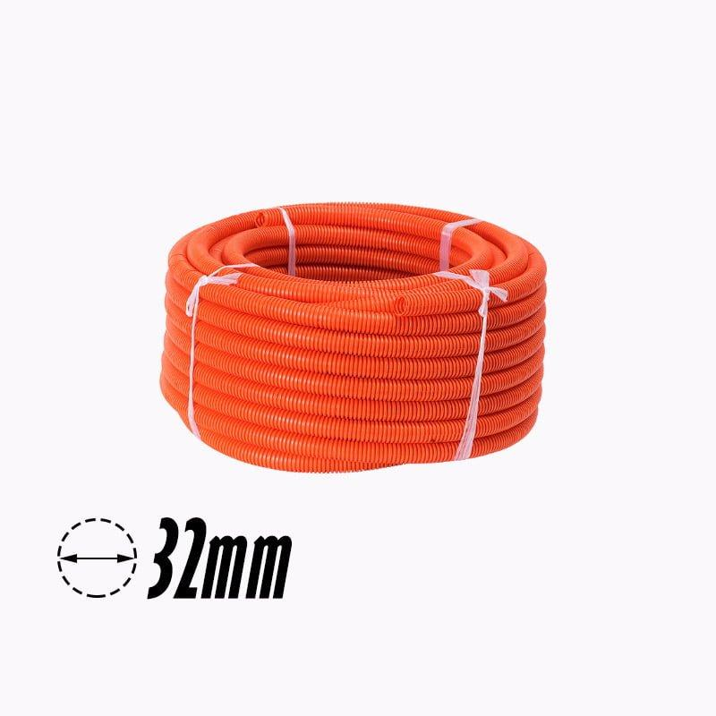 32mm PVC Corrugated Conduit Duct Heavy Duct Orange UV - Star Sparky Direct