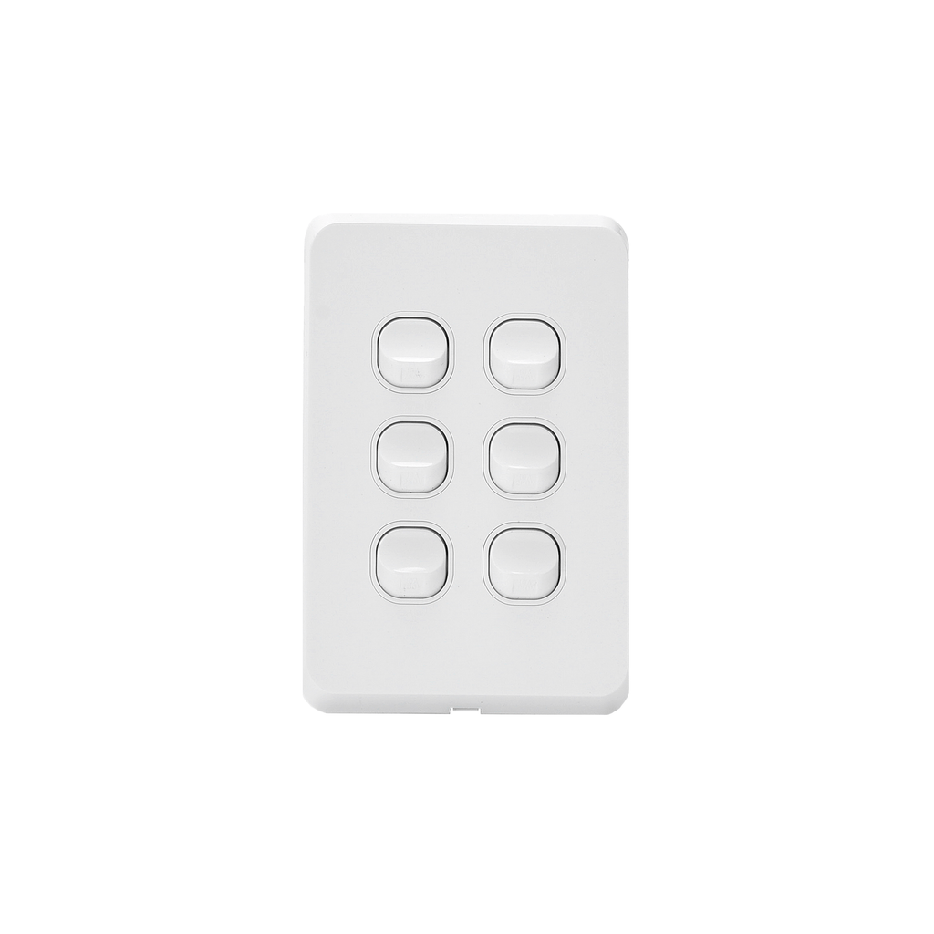 6 Gang Light Switch Vertical 10A 250V - RS312-V - Star Sparky Direct
