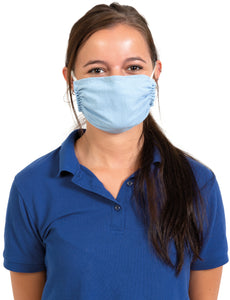 Reusable Face Mask with 2 Ply Poly Cotton - Made in the USA, Tie Back with Integrated Nosepiece and Antimicrobial Protection, Machine Washable (5 Pack - Adult - Blue)