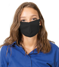 Load image into Gallery viewer, Reusable Face Mask with Single Ply Poly Cotton - Made in the USA, Light Weight Stretchable Ear Loop with Fluid Resistance, Machine Washable (10 Pack - Adult - Black)