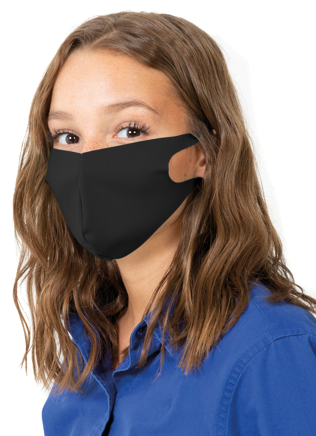 Reusable Face Mask with Single Ply Poly Cotton - Made in the USA, Light Weight Stretchable Ear Loop with Fluid Resistance, Machine Washable (10 Pack - Adult - Black)