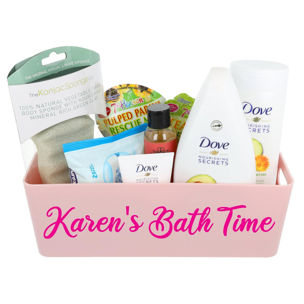 Dove Bath Time Filled Personalised Pink Storage Box