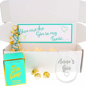 Engraved Gin Glass Gin Lover Personalised Gift Set