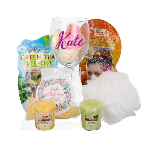 LARGE - Personalised Me Time Filled Wine Glass Bathtime Set - Always Looking Good UK