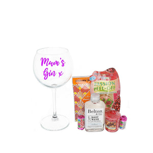 Best Mum Mother's Day Gin Glass Personalised & Filled with Goodies