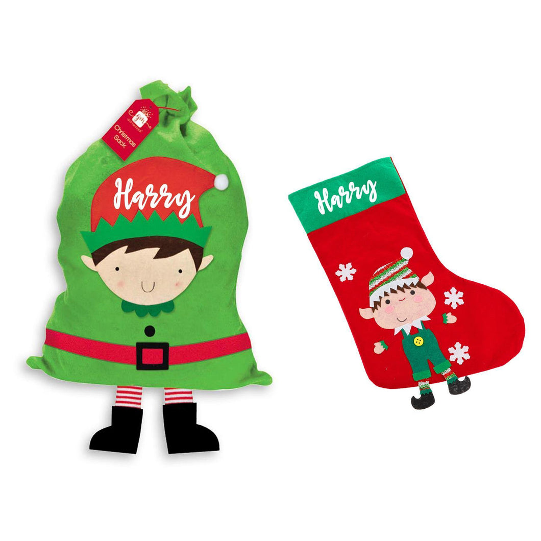 Christmas Stocking and Present Sack Kids Christmas Eve Set