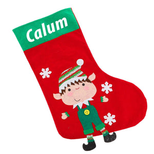 Kids Personalised Christmas Eve Filled Christmas Elf Stocking - Always Looking Good UK