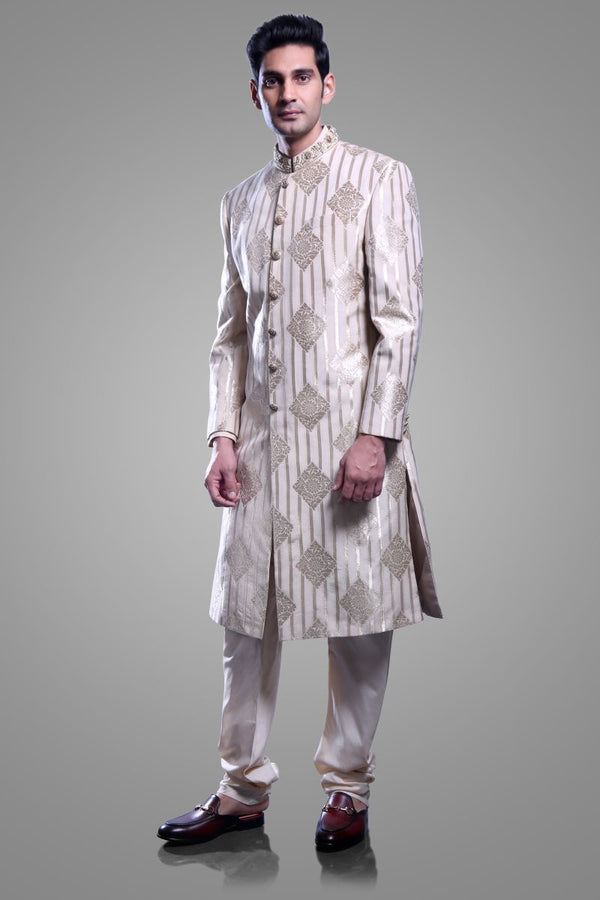 SHERWANI WITH BOTTOM WITH REFINED HANDWORK