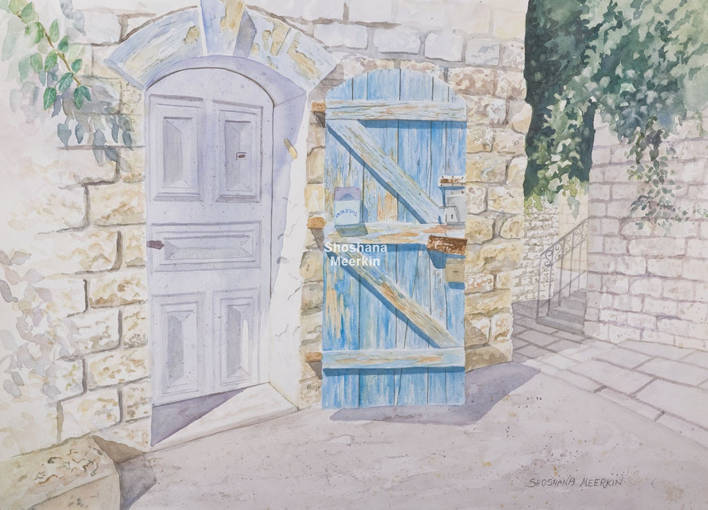 The Old Blue Wooden Door, Safed.