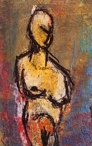 figure painting, detail view 1, by Maui Hawaii artist Shane Robinson