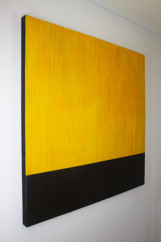 """EDGE: Citrine"" by Maui contemporary artist Shane Robinson, 48"" x 48"", acrylic and resin on wood panel (alt view)"
