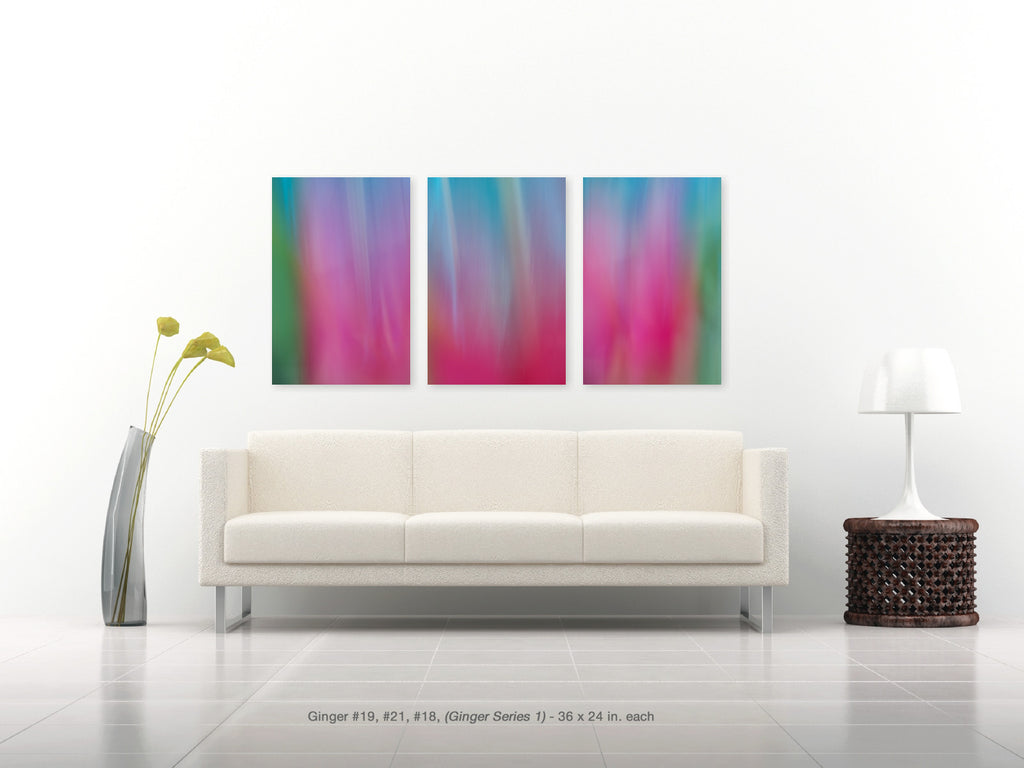 Ginger triptych in rich blues, pinks, greens by Maui Artist, Shane Robinson