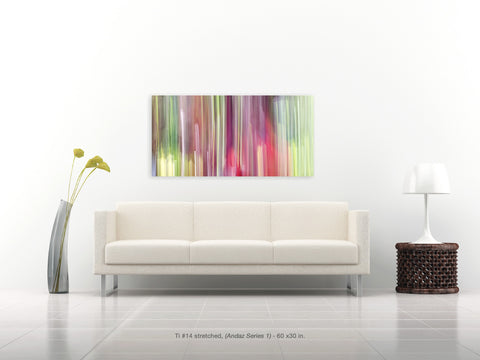 Ti #14 stretched by Shane Robinson, with modern white sofa